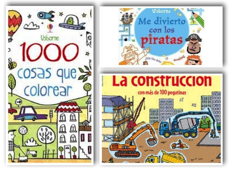Pack 3 libros actividades: Piratas + 1000 colorear + construccion